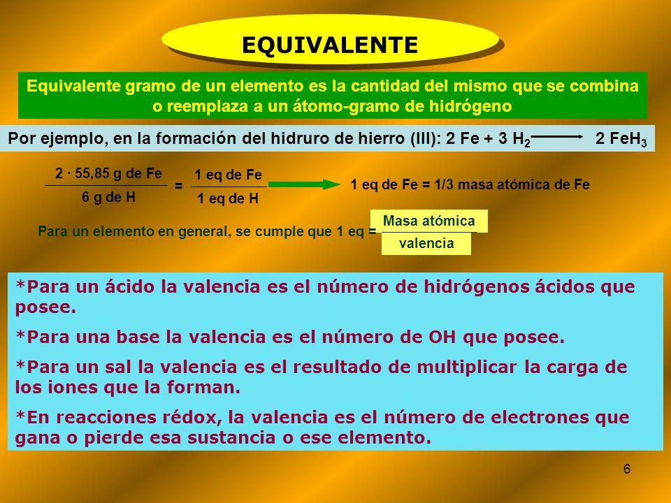 6 Equivalente gramo de un elemento es la cantidad del mismo que se combina o reemplaza a un átomo-gramo de hidrógeno Por ejemplo, en la formación del