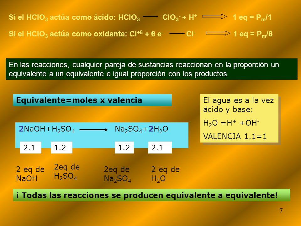 7 En las reacciones, cualquier pareja de sustancias reaccionan en la proporción un equivalente a un equivalente e igual proporción con los productos S