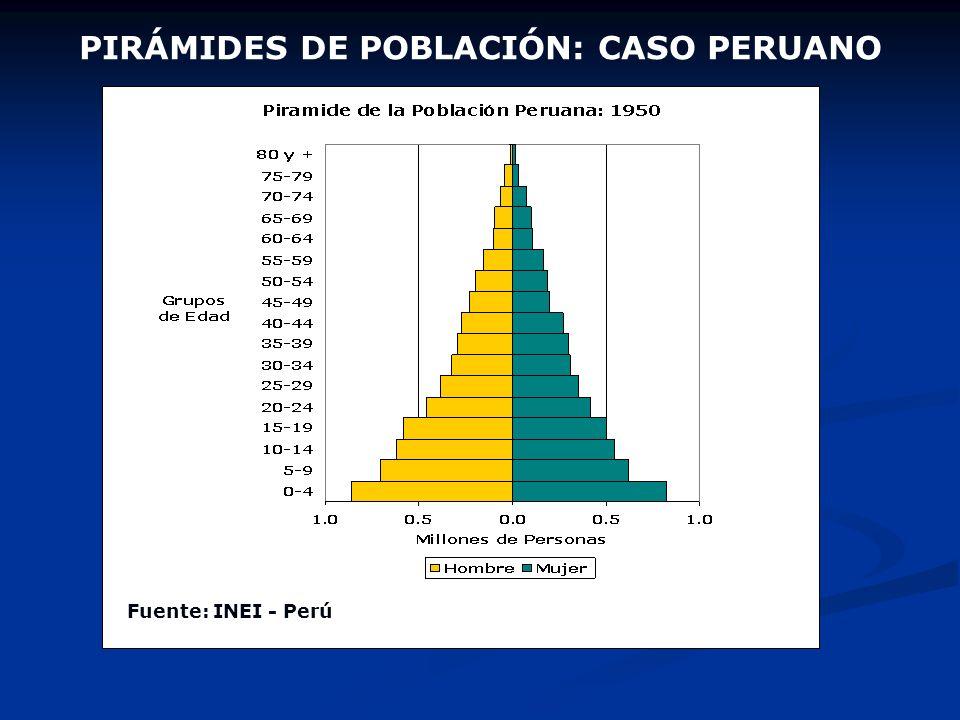 PIRÁMIDE DE POBLACIÓN Cada franja de la pirámide de población representa a una Generación o Cohorte (el conjunto de personas nacidas en un período det