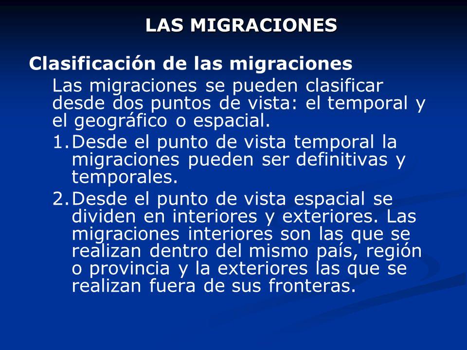 LAS MIGRACIONES Migración o movimiento migratorio es el desplazamiento de población desde su lugar de origen hasta otro de destino, que implica un cam