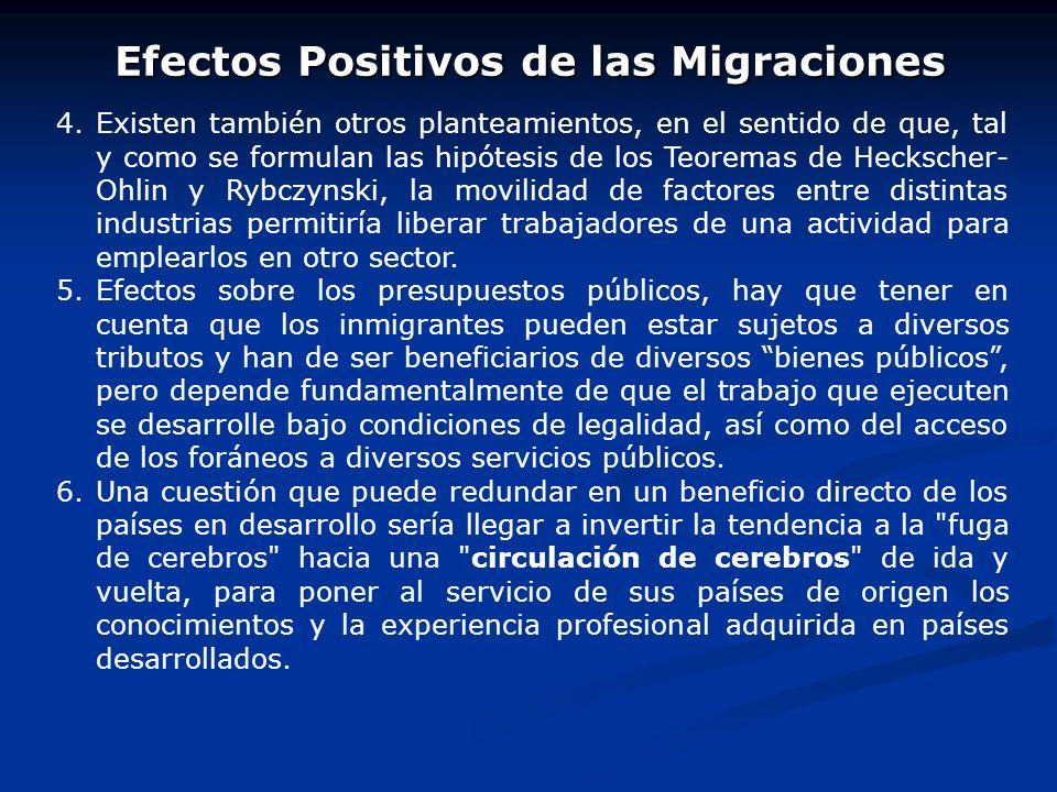 Efectos Positivos de las Migraciones 1. 1.Efectos generados sobre la renta del país receptor y del emisor. Los inmigrantes, y quienes dependen económi