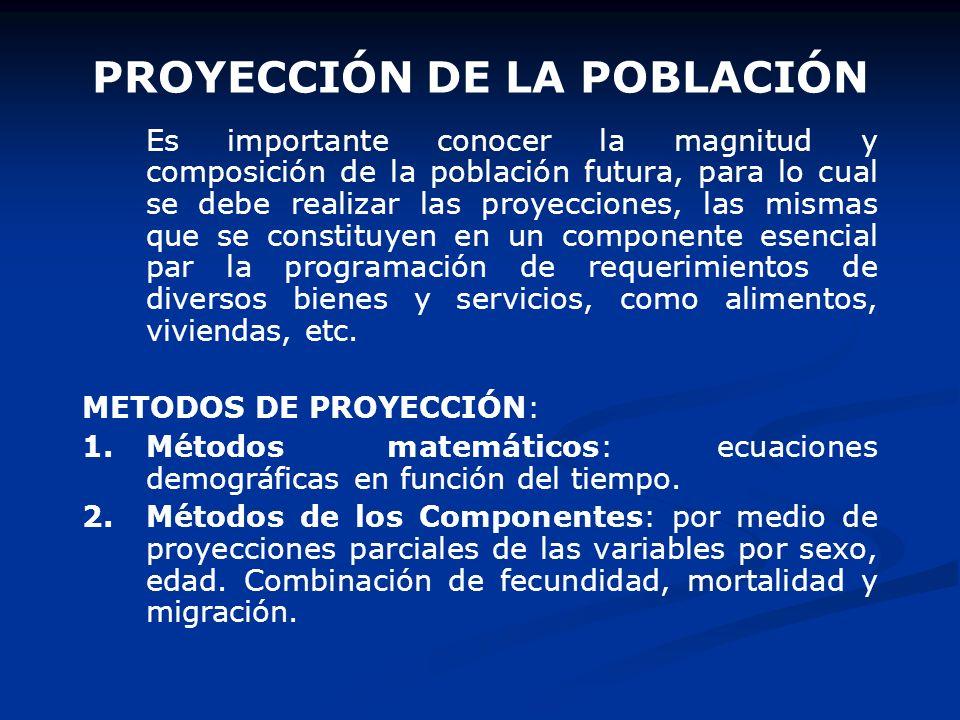 Ejm: Obtener la población para el año 2004 Nacimientos 629 mil Defunciones165 Saldo migratorio-62 Población 200326347 P t = P 0 + (N - D) + (I - E) P