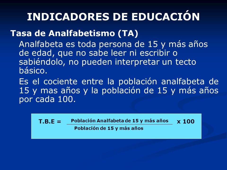 INDICADORES DE EDUCACIÓN Tasa Bruta de Escolaridad (TBE) Es el cociente entre el número de matriculados durante un año en una población y el tamaño de