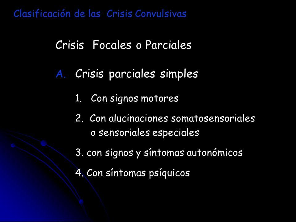 Crisis Focales o Parciales A. A. Crisis parciales simples 1. Con signos motores 2. Con alucinaciones somatosensoriales o sensoriales especiales 3. con