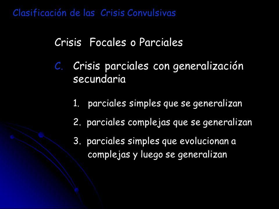 Crisis Focales o Parciales C. C. Crisis parciales con generalización secundaria 1. parciales simples que se generalizan 2. parciales complejas que se