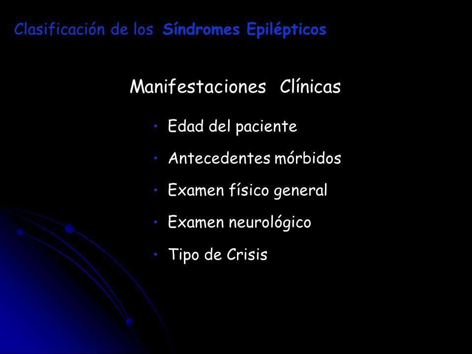 Manifestaciones Clínicas Edad del paciente Antecedentes mórbidos Examen físico general Examen neurológico Tipo de Crisis Clasificación de los Síndrome