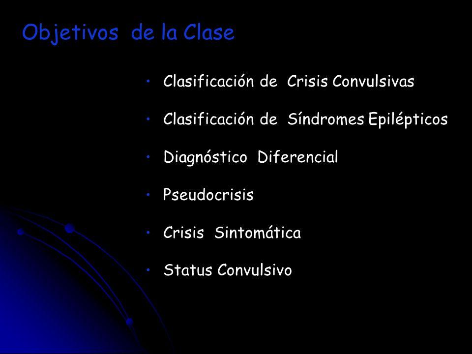Clasificación de Crisis Convulsivas Clasificación de Síndromes Epilépticos Diagnóstico Diferencial Pseudocrisis Crisis Sintomática Status Convulsivo O