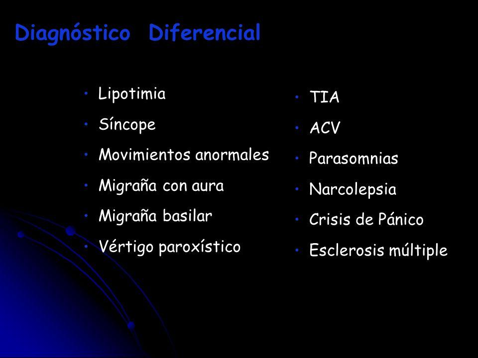 Lipotimia Síncope Movimientos anormales Migraña con aura Migraña basilar Vértigo paroxístico Diagnóstico Diferencial TIA ACV Parasomnias Narcolepsia C