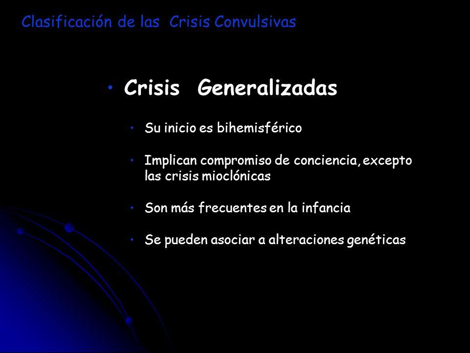 Crisis Generalizadas Su inicio es bihemisférico Implican compromiso de conciencia, excepto las crisis mioclónicas Son más frecuentes en la infancia Se