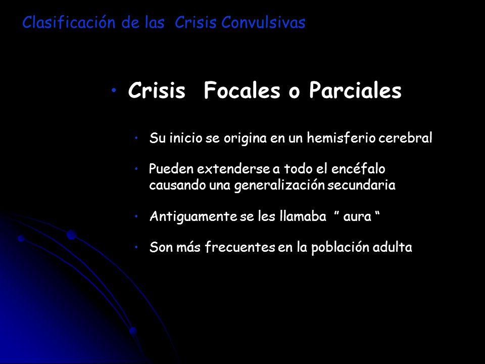 Crisis Focales o Parciales Su inicio se origina en un hemisferio cerebral Pueden extenderse a todo el encéfalo causando una generalización secundaria