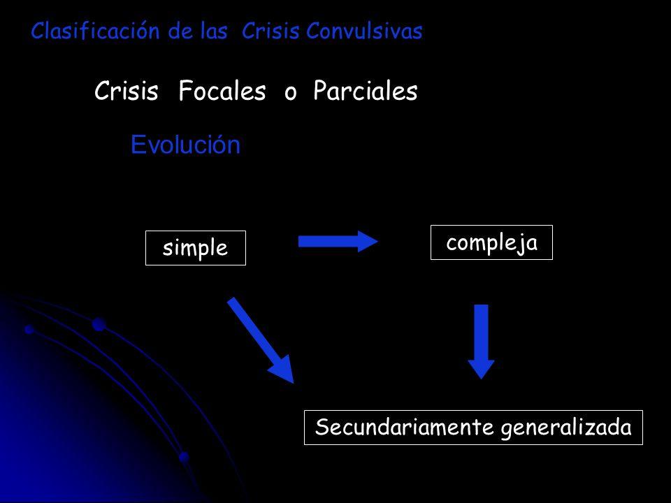 Crisis Focales o Parciales Evolución Clasificación de las Crisis Convulsivas simple compleja Secundariamente generalizada