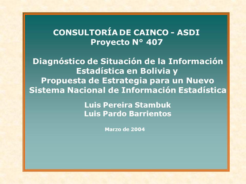 CONSULTORÍA DECAINCO - ASDI Proyecto N° 407 Diagnóstico de Situación de la Información Estadística en Bolivia y Propuesta de Estrategia para un Nuevo Sistema Nacional de Información Estadística Luis Pereira Stambuk Luis Pardo Barrientos Marzo de 2004