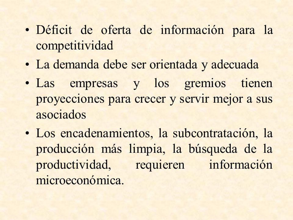 Déficit de oferta de información para la competitividad La demanda debe ser orientada y adecuada Las empresas y los gremios tienen proyecciones para crecer y servir mejor a sus asociados Los encadenamientos, la subcontratación, la producción más limpia, la búsqueda de la productividad, requieren información microeconómica.