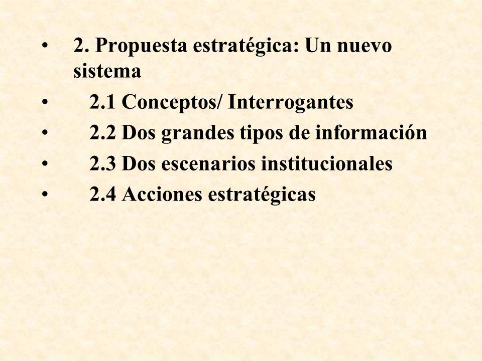 2. Propuesta estratégica: Un nuevo sistema 2.1 Conceptos/ Interrogantes 2.2 Dos grandes tipos de información 2.3 Dos escenarios institucionales 2.4 Ac