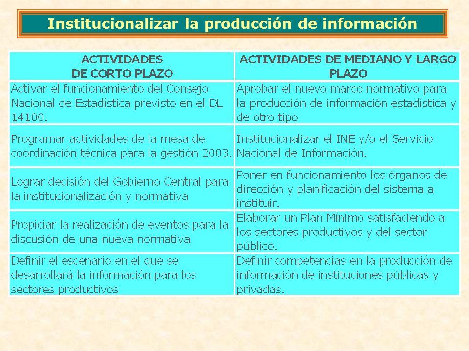 Institucionalizar la producción de información