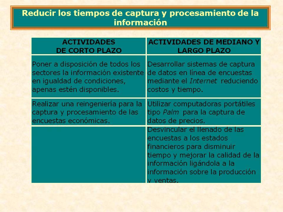 Reducir los tiempos de captura y procesamiento de la información