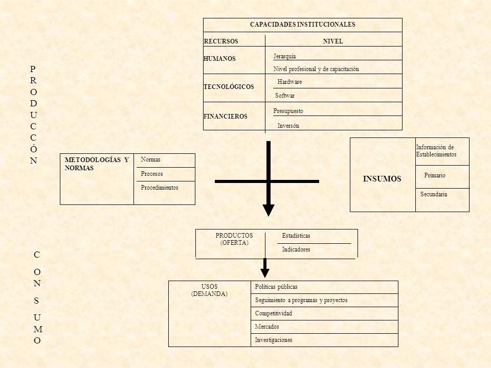 Inversón Softwar CAPACIDADES INSTITUCIONALES Presupuesto FINANCIEROS Hardware TECNOLÓGICOS Nivel profesional y de capacitación Jerarquía HUMANOS NIVELRECURSOS Secundaria Primario Información de Establecimientos INSUMOS Procedimientos Normas METODOLOGÍAS Y NORMAS Procesos Indicadores EstadísticasPRODUCTOS (OFERTA) Investigaciones Mercados Competitividad Seguimiento a programas y proyectos Políticas públicasUSOS (DEMANDA) CONSUMOCONSUMO PRODUCCÓNPRODUCCÓN