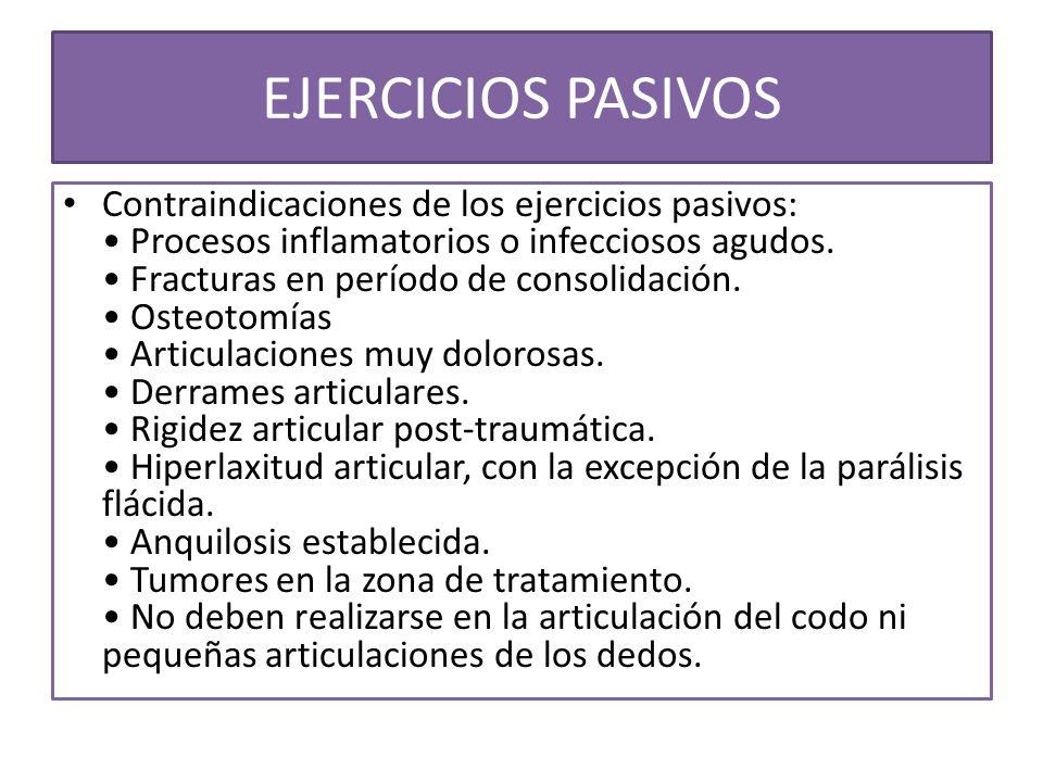 EJERCICIOS PASIVOS Contraindicaciones de los ejercicios pasivos: Procesos inflamatorios o infecciosos agudos. Fracturas en período de consolidación. O