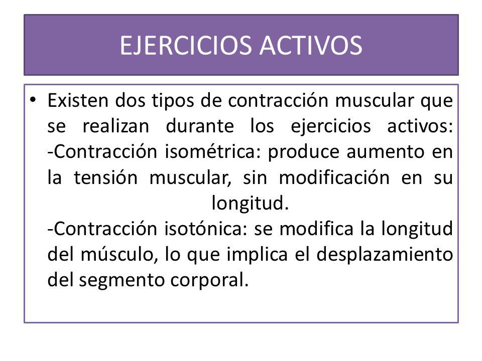 Existen dos tipos de contracción muscular que se realizan durante los ejercicios activos: -Contracción isométrica: produce aumento en la tensión muscu