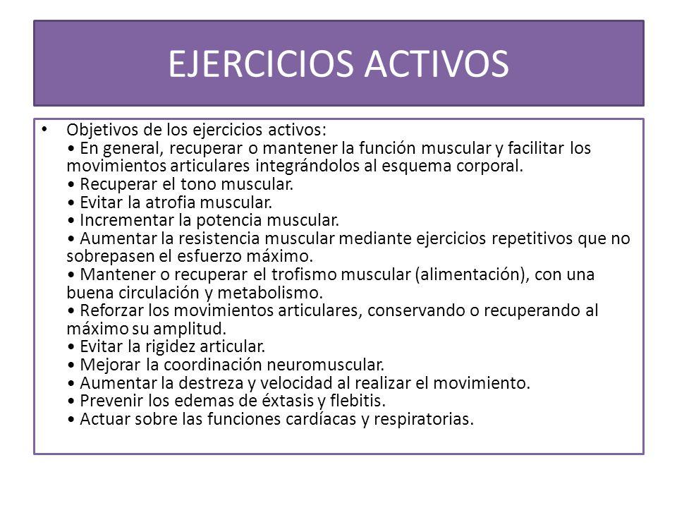 EJERCICIOS ACTIVOS Objetivos de los ejercicios activos: En general, recuperar o mantener la función muscular y facilitar los movimientos articulares i