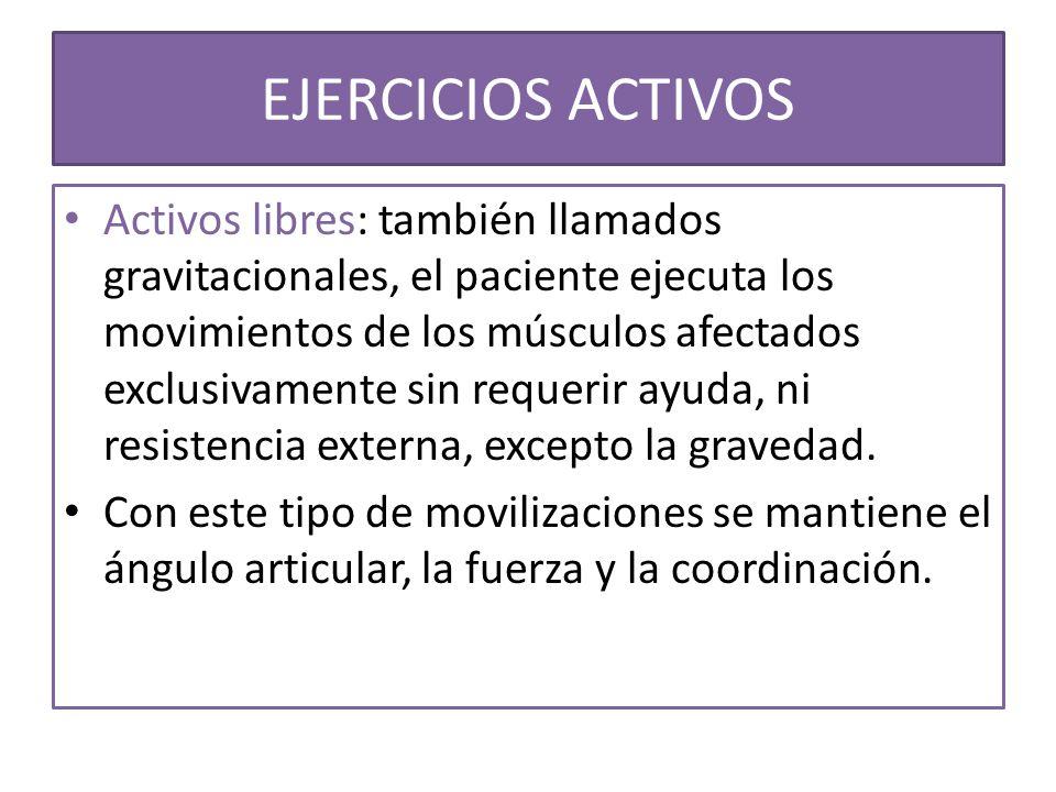 Activos libres: también llamados gravitacionales, el paciente ejecuta los movimientos de los músculos afectados exclusivamente sin requerir ayuda, ni
