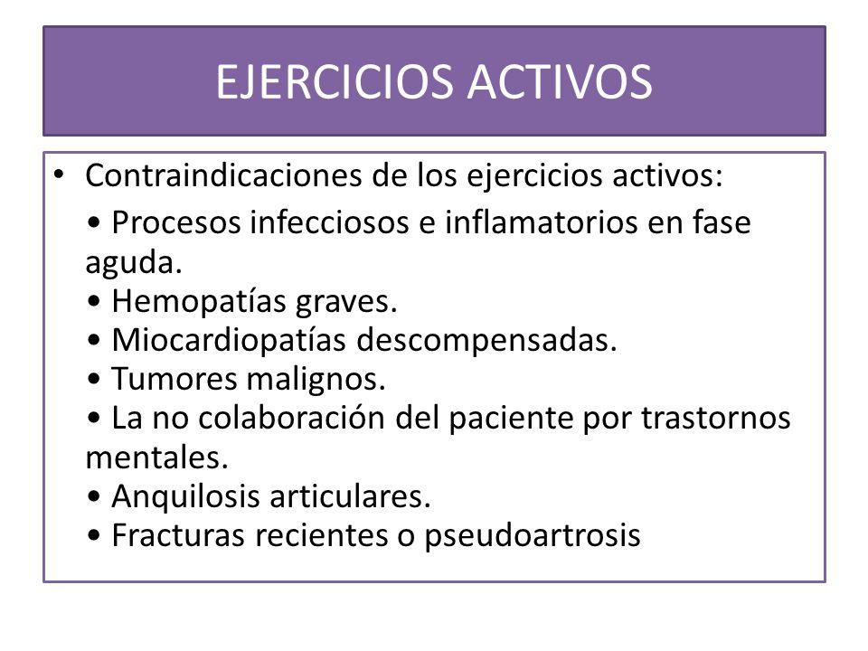 Contraindicaciones de los ejercicios activos: Procesos infecciosos e inflamatorios en fase aguda. Hemopatías graves. Miocardiopatías descompensadas. T