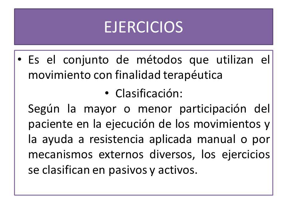 EJERCICIOS Es el conjunto de métodos que utilizan el movimiento con finalidad terapéutica Clasificación: Según la mayor o menor participación del paci