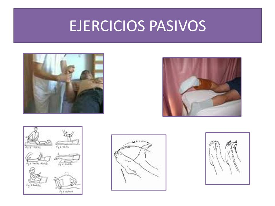 Objetivos de los ejercicios pasivos: Prevenir la aparición de deformidades, evitar rigideces y anquilosis en posiciones viciosas.