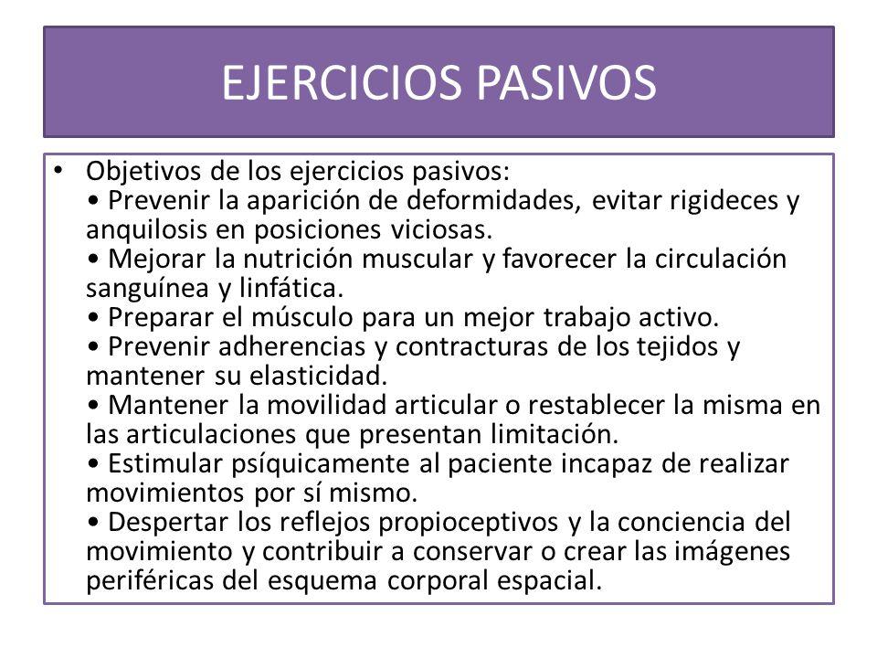 Objetivos de los ejercicios pasivos: Prevenir la aparición de deformidades, evitar rigideces y anquilosis en posiciones viciosas. Mejorar la nutrición