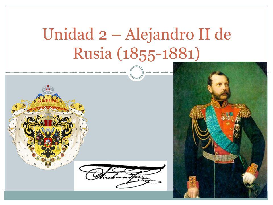 Elementos clave de Alejandro II 1855 Alejandro II ascendió al trono en marzo de 1855 a los 36 años.