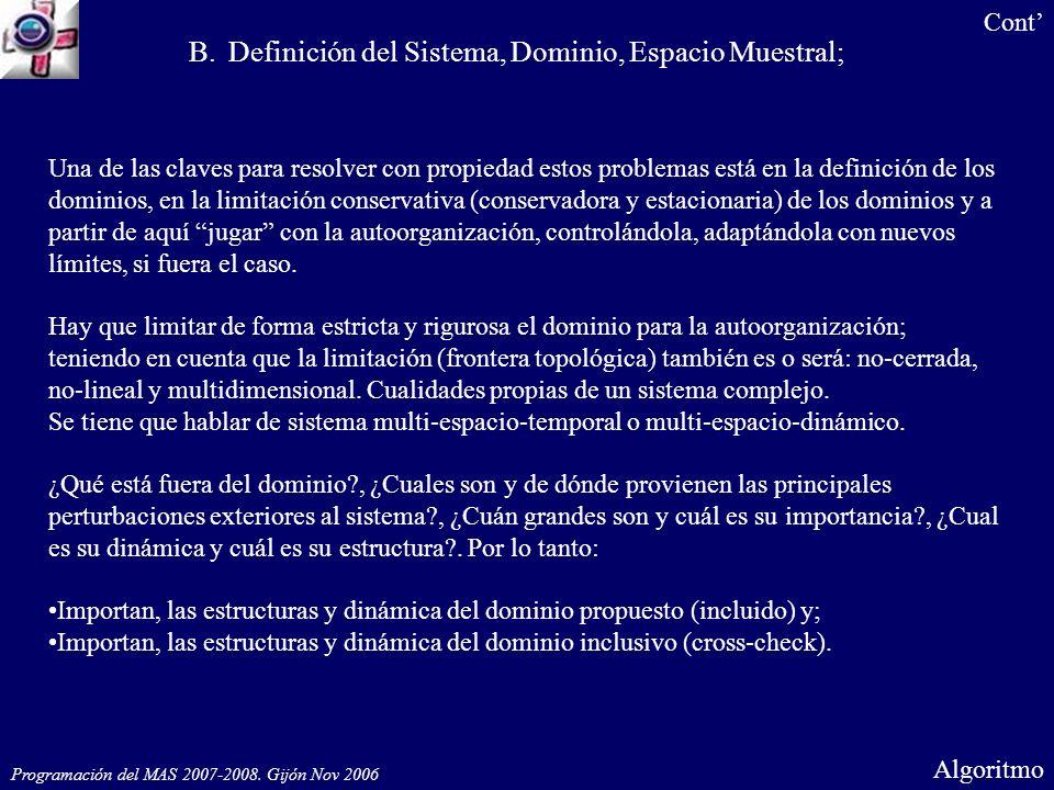 Programación del MAS 2007-2008. Gijón Nov 2006 Algoritmo B.Definición del Sistema, Dominio, Espacio Muestral; Cont Una de las claves para resolver con