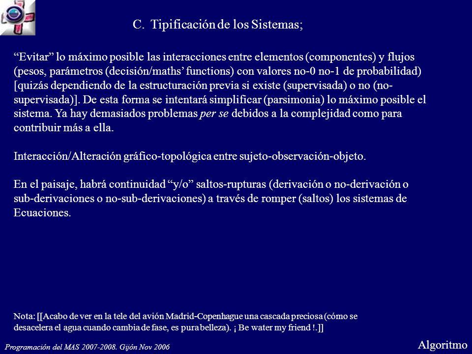 Programación del MAS 2007-2008. Gijón Nov 2006 Algoritmo C.Tipificación de los Sistemas; Evitar lo máximo posible las interacciones entre elementos (c