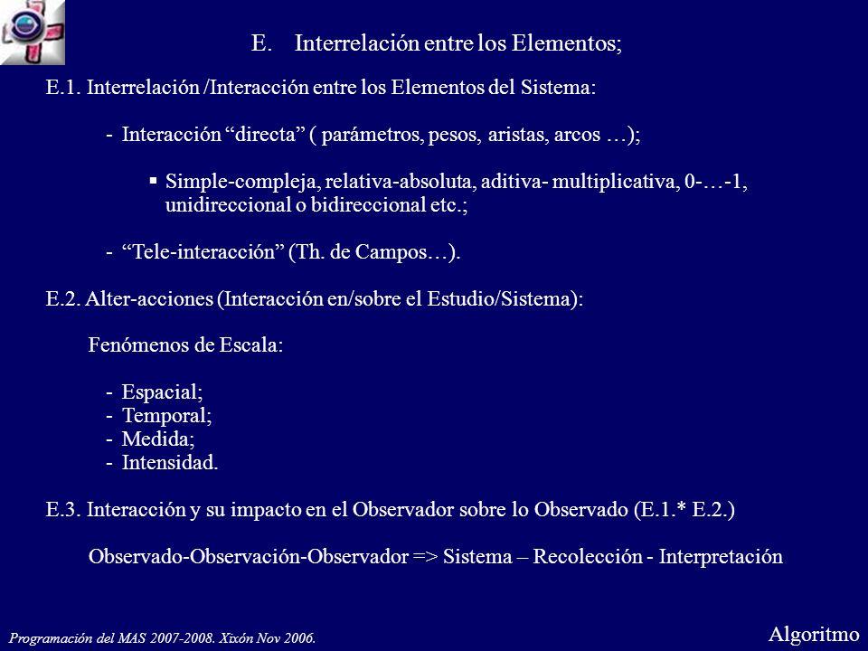 E.1. Interrelación /Interacción entre los Elementos del Sistema: -Interacción directa ( parámetros, pesos, aristas, arcos …); Simple-compleja, relativ