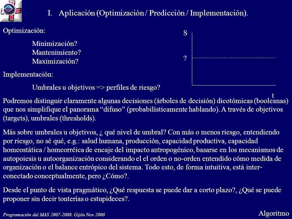 Optimización: Minimización? Mantenimiento? Maximización? Implementación: Umbrales u objetivos => perfiles de riesgo? Podremos distinguir claramente al