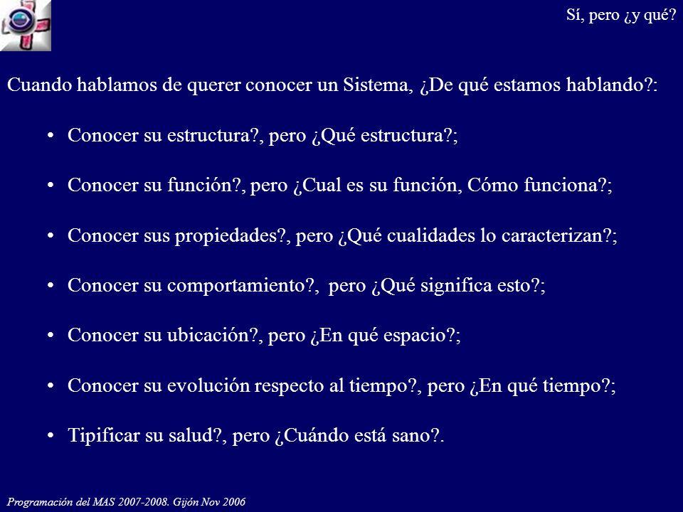 Programación del MAS 2007-2008. Gijón Nov 2006 Cuando hablamos de querer conocer un Sistema, ¿De qué estamos hablando?: Conocer su estructura?, pero ¿