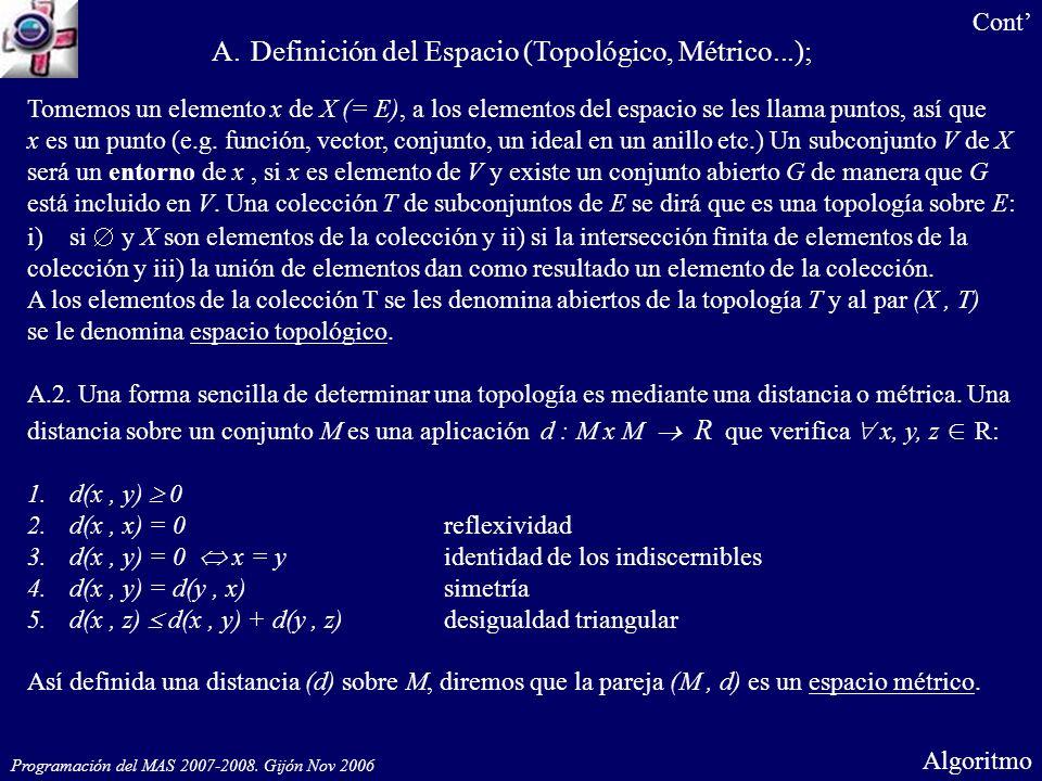 Programación del MAS 2007-2008. Gijón Nov 2006 Algoritmo Tomemos un elemento x de X (= E), a los elementos del espacio se les llama puntos, así que x