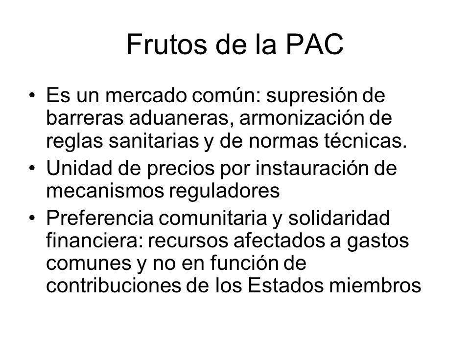 Frutos de la PAC Es un mercado común: supresión de barreras aduaneras, armonización de reglas sanitarias y de normas técnicas. Unidad de precios por i