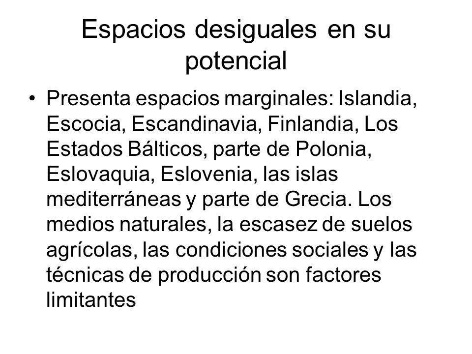 Espacios desiguales en su potencial Presenta espacios marginales: Islandia, Escocia, Escandinavia, Finlandia, Los Estados Bálticos, parte de Polonia,