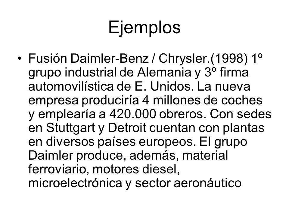 Ejemplos Fusión Daimler-Benz / Chrysler.(1998) 1º grupo industrial de Alemania y 3º firma automovilística de E. Unidos. La nueva empresa produciría 4
