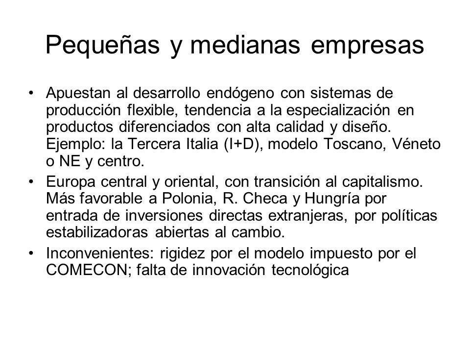 Pequeñas y medianas empresas Apuestan al desarrollo endógeno con sistemas de producción flexible, tendencia a la especialización en productos diferenc