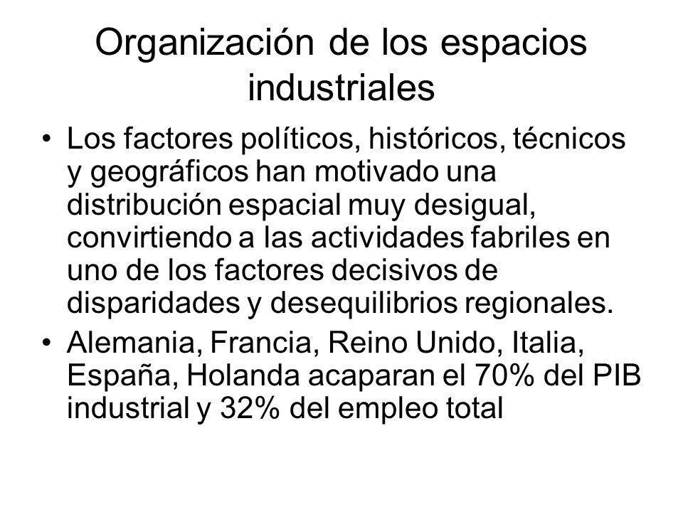 Organización de los espacios industriales Los factores políticos, históricos, técnicos y geográficos han motivado una distribución espacial muy desigu