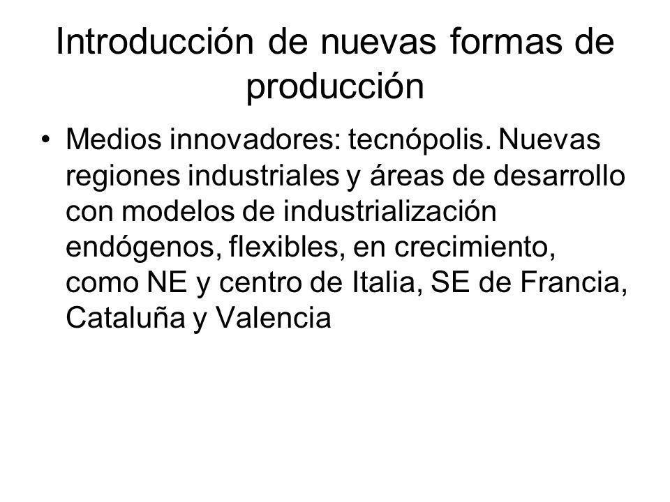 Introducción de nuevas formas de producción Medios innovadores: tecnópolis. Nuevas regiones industriales y áreas de desarrollo con modelos de industri
