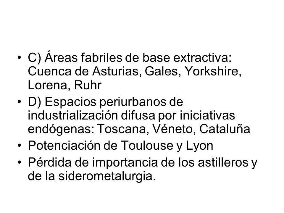 C) Áreas fabriles de base extractiva: Cuenca de Asturias, Gales, Yorkshire, Lorena, Ruhr D) Espacios periurbanos de industrialización difusa por inici