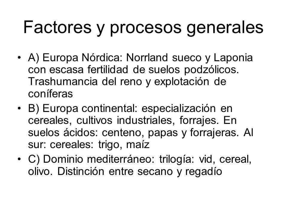 Factores y procesos generales A) Europa Nórdica: Norrland sueco y Laponia con escasa fertilidad de suelos podzólicos. Trashumancia del reno y explotac