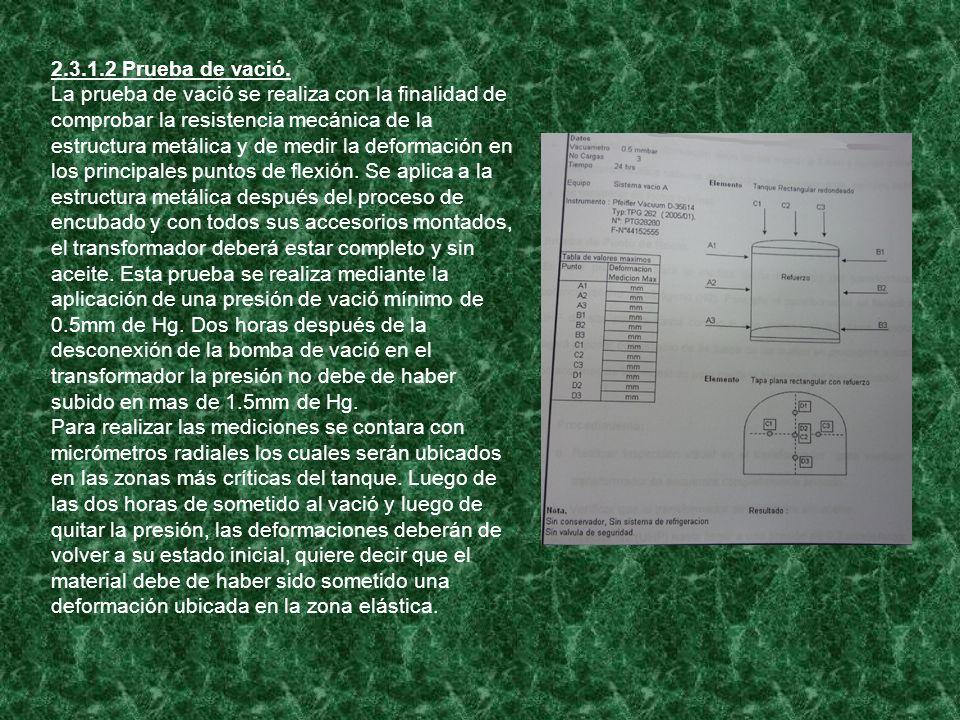 2.3.1.2 Prueba de vació. La prueba de vació se realiza con la finalidad de comprobar la resistencia mecánica de la estructura metálica y de medir la d