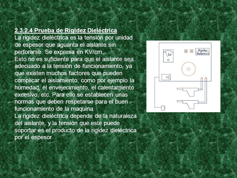 2.3.2.4 Prueba de Rigidez Dieléctrica La rigidez dieléctrica es la tensión por unidad de espesor que aguanta el aislante sin perforarse. Se expresa en