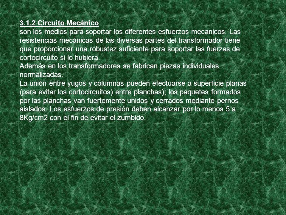 3.1.2 Circuito Mecánico son los medios para soportar los diferentes esfuerzos mecanicos. Las resistencias mecánicas de las diversas partes del transfo