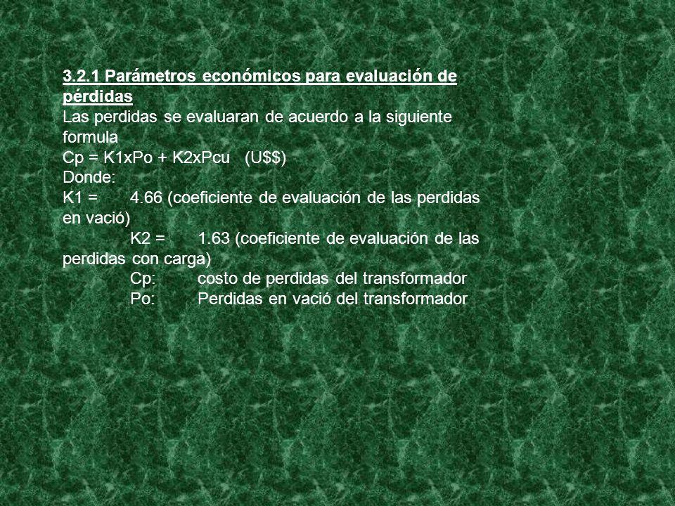 3.2.1 Parámetros económicos para evaluación de pérdidas Las perdidas se evaluaran de acuerdo a la siguiente formula Cp = K1xPo + K2xPcu (U$$) Donde: K