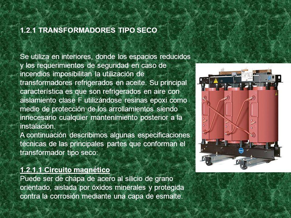 1.2.1 TRANSFORMADORES TIPO SECO Se utiliza en interiores, donde los espacios reducidos y los requerimientos de seguridad en caso de incendios imposibi