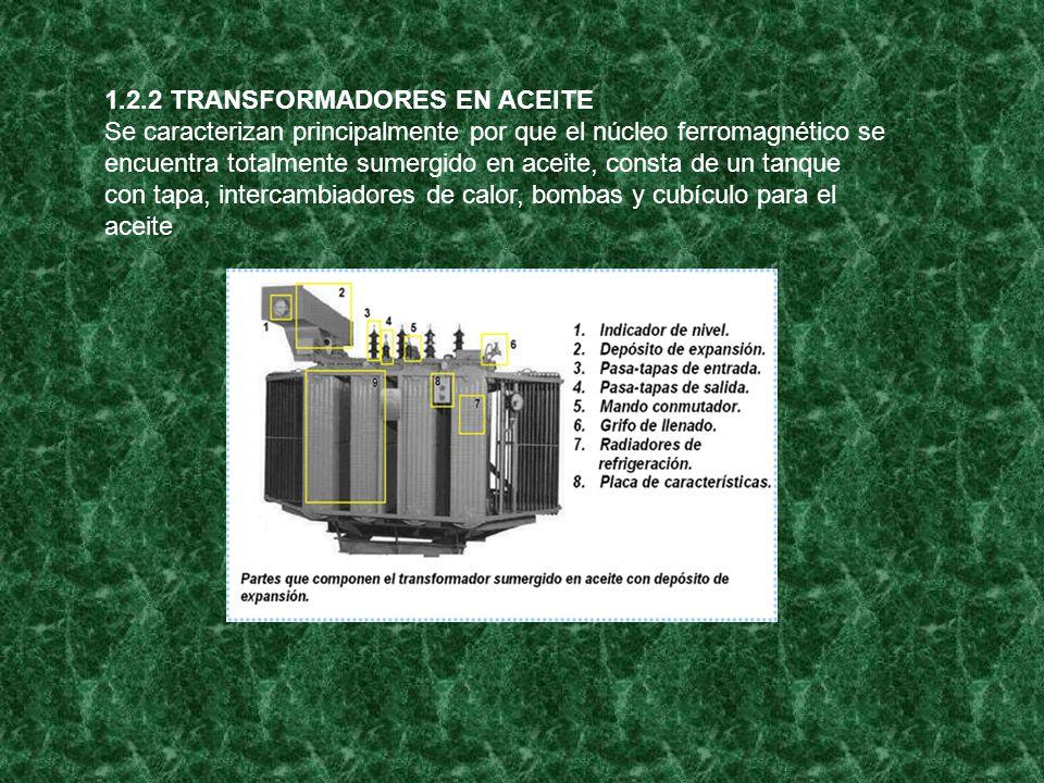 1.2.2 TRANSFORMADORES EN ACEITE Se caracterizan principalmente por que el núcleo ferromagnético se encuentra totalmente sumergido en aceite, consta de